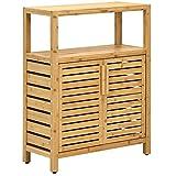 Tangkula Bathroom Floor Cabinet, Bamboo Storage Cabinet w/Open Shelf & Double Doors, Adjustable Shelf, Anti-Skid Foot Pads, Standing Cupboard Cabinet for Bathroom Kitchen Living Room (Natural)