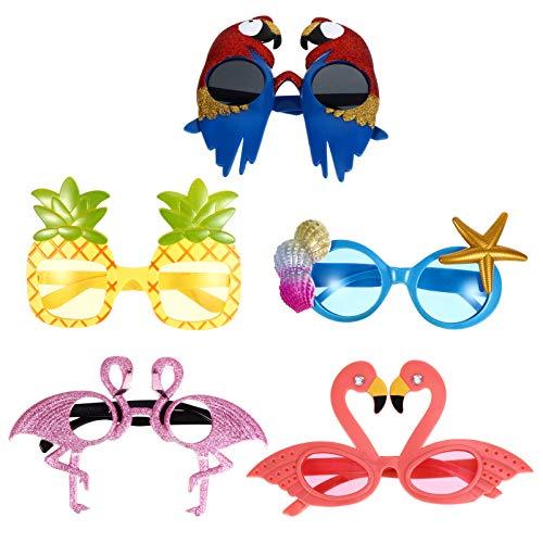 TomaiBaby 5 Piezas de Gafas de Fiesta Tropical Dibujos Animados de Aves Flamencos Fruta Gafas de Sol de Celebración para Niños Adultos