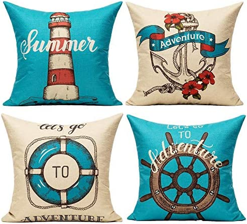 Outdoor Nautical Sailing Style Throw Pillow Covers Coastal Navy Blue Summer Beach Adventure product image