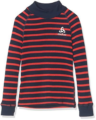 Odlo Active T-Shirts à Manches Longues Mixte Enfant, Diving Navy/Hibiscus, FR : L (Taille Fabricant : 152)