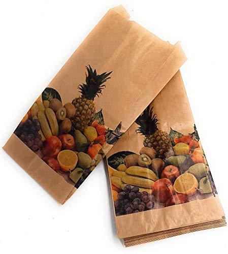 250 Bolsas papel kraft antihumedad para frutas y verduras 14 x 29 cm (1 Kg)