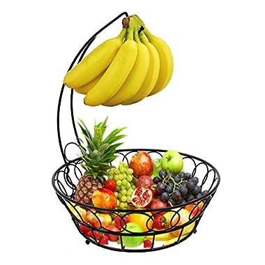 ESYLIFE Wire Fruit Bowl with Banana Hanger Fruit Storage Basket, Black