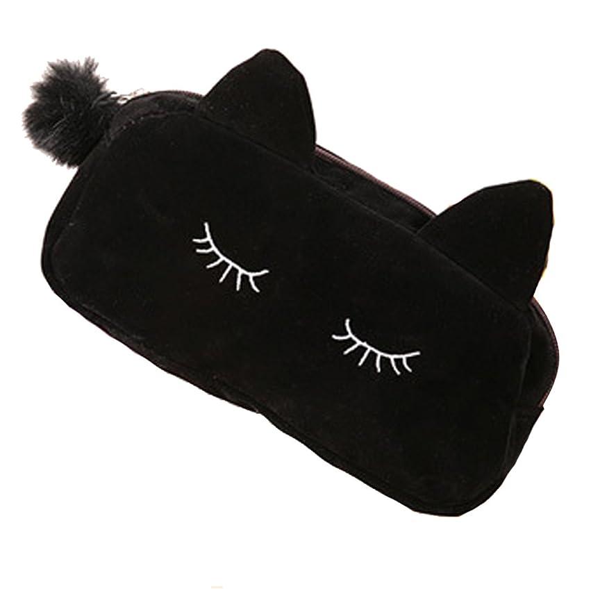 パン屋流用する話レディース コスメバッグ ポーチ メークアップポーチ 化粧ポーチ トラベル 収納ケース 可愛い にゃんこちゃん 猫模様 小物収納袋 ポータブル ポンポン付き