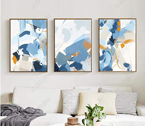 Nordic Blue Abstract Watercolor Poster Canvas Print Modular Wall Paintings for Living Room Wall Art Home Decor No Framed 60 * 80cm