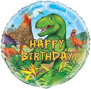 "Unique Dinosaur Happy Birthday Foil Balloon, Multi, 45cm (18"")"