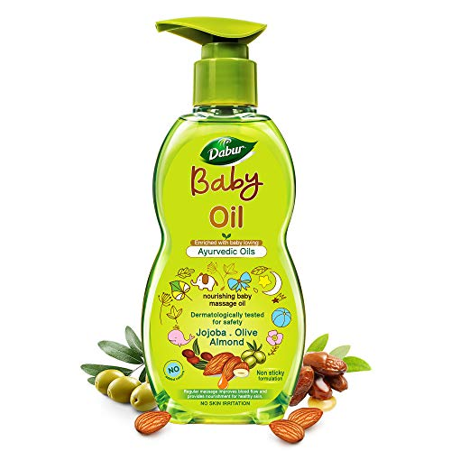 Dabur Baby Oil: Non - Sticky Baby Massage Oil with No Harmful Chemicals |Contains Jojoba , Olives & Almonds | Hypoallergenic & Dermatologically Tested with No Paraben & Phthalates - 500 ml