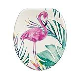 Universal WC-Sitz aus MDF-Holz von hoher Qualität, Toiletten Klockedel mit stabil Scharnieren aus Edelstahl Toilettenbrillen in vielen bunten Motiven für das Badezimmer, Trendy Line (Flamingo)