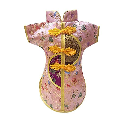 YuKeShop 1 PC estilo chino Cheongsam botella de vino cubierta China vestido de seda botella de vino bolsa de champán bolsa para hotel bar cocina mesa decoración (color al azar)