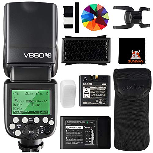GODOX V860II-N TTL Flash 1/8000s High-Speed Sync 2.4G GN60 Camera Flash Speedlight with Li-on Battery 1.5S Recycle Time 650 Full Power Flashes for Nikon D3400 D3200 D5300 D5600 D7500 D750 (V860II-N)