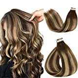 LaaVoo 16 Pulgadas Balayage Real Tape on Rooted Hair Extensions #4/4/18 Marrón Oscuro a...