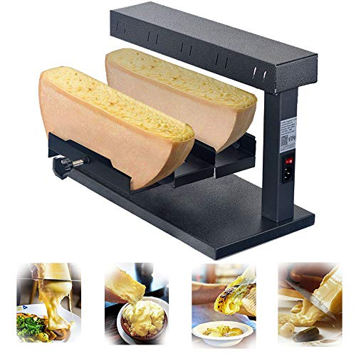 Li Bai Cheese Melter Raclette Grill Machine Electric 650W Nacho Cheese Dispender Commercial Multi-Function For 2 Pieces of Adjustable Half Cheese Wheel Maker Swiss Dish Rapid Heating(750D)