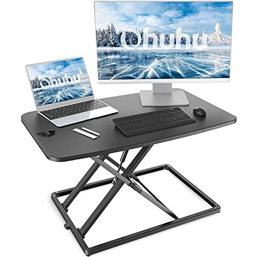 Ohuhu スタンディングデスク 昇降式 4cm-40cm 在宅ワーク 在宅勤務 スタンディングデスク 高さ調整可 昇降式デスク オフィスワークテーブル キーボード付き 机上デスク