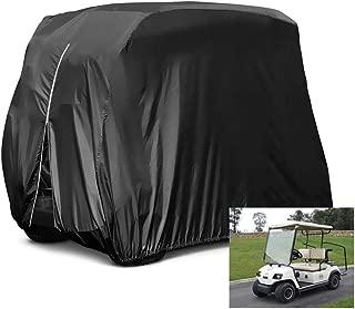 HOMEYA 高尔夫球车套,防水防尘耐用球杆汽车罩,适用于 4 个乘客座椅 EZ GO Club 汽车雅马哈高尔夫球车,*大适合 112.5 英寸长 - 黑色