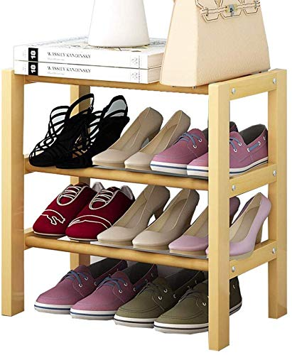 DHFDHD Estante de Zapatos Estantería de Zapatos Estante de Madera Estantes de la casa Apilable Organizador de Almacenamiento de Color Original de Madera para el Armario, Pasillo y Entrada