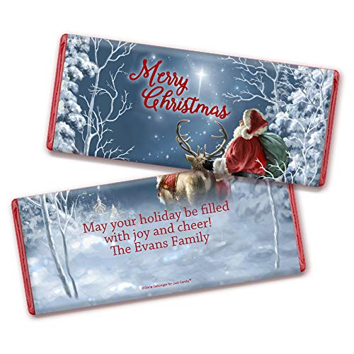 Personalized Christmas Santa Chocolate Bar Wrappers with Red Foil (25 Wrappers)