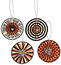 Bethany Lowe Halloween Trick or Treat Rosette Set of 4 Ornaments 2018