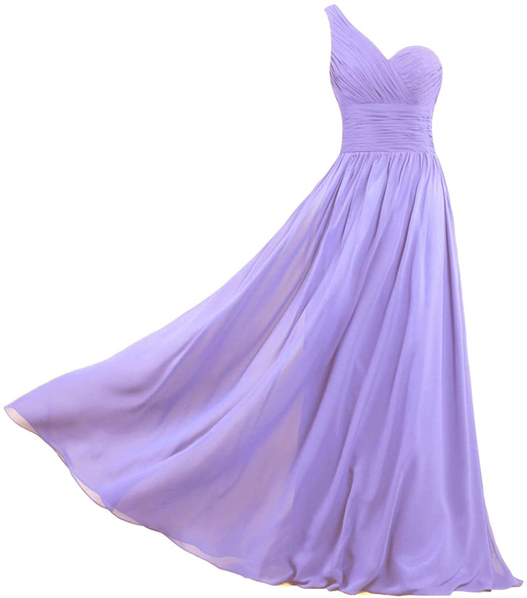Unbranded* Women's Chiffon One Shoulder Prom Dresses Long Bridesmaid Gowns