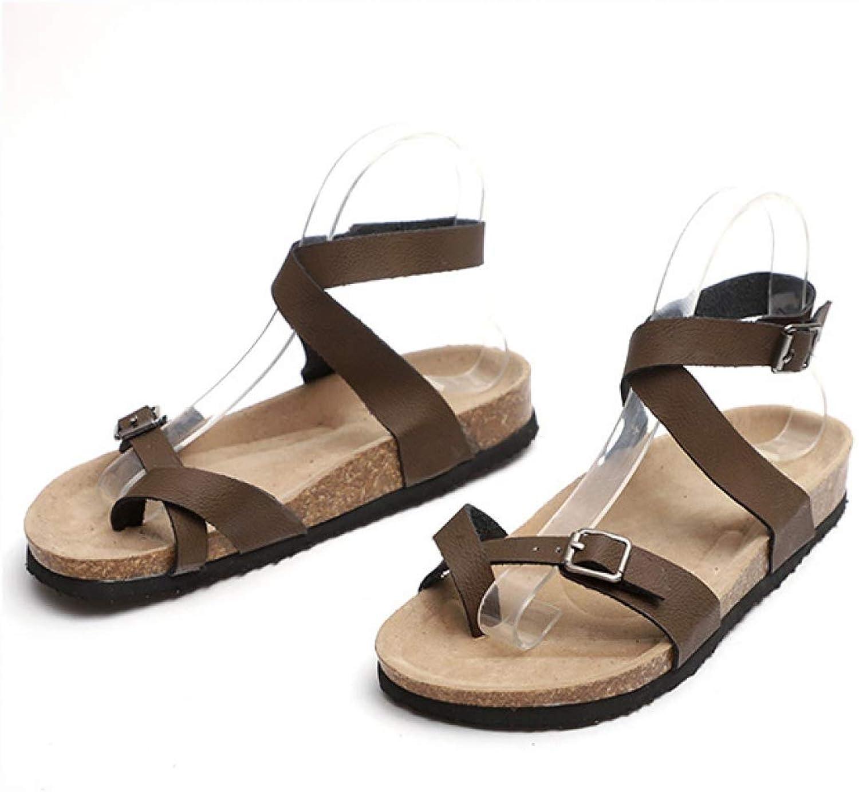 MEIZOKEN Women Cork Flat Sandals Summer Ladies Fashion Casual Ankle Buckle Strap Clip Toe Platform shoes