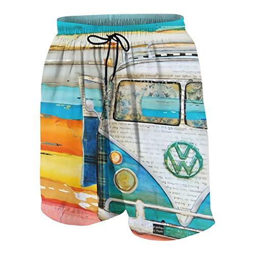 Meiya-Design Herren Badehose Retro Vw Bus Neuheit Beach Board Shorts mit Tasche Gr. L/XL, Mehrfarbig