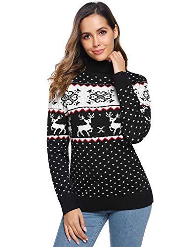 Abollria Womens Knit Turtleneck Sweater Reindeer Long Christmas Sweater Long Sleeve Pullover Black
