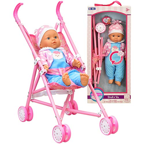 My First Baby Doll Stroller - Soft Body Talking Baby Doll Included Fun Play Combo Set for Babies Infants Toddlers Girls Kids