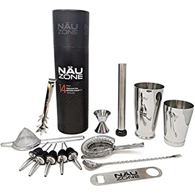 14 Piece Professional Bartender Kit | Restaurant Quality 28 oz Weighted Bottom Boston Shaker Bar Set: Premium Barware Supplies and Bartending Tools for Perfect Drink Mixing | Deluxe Tube Packaging