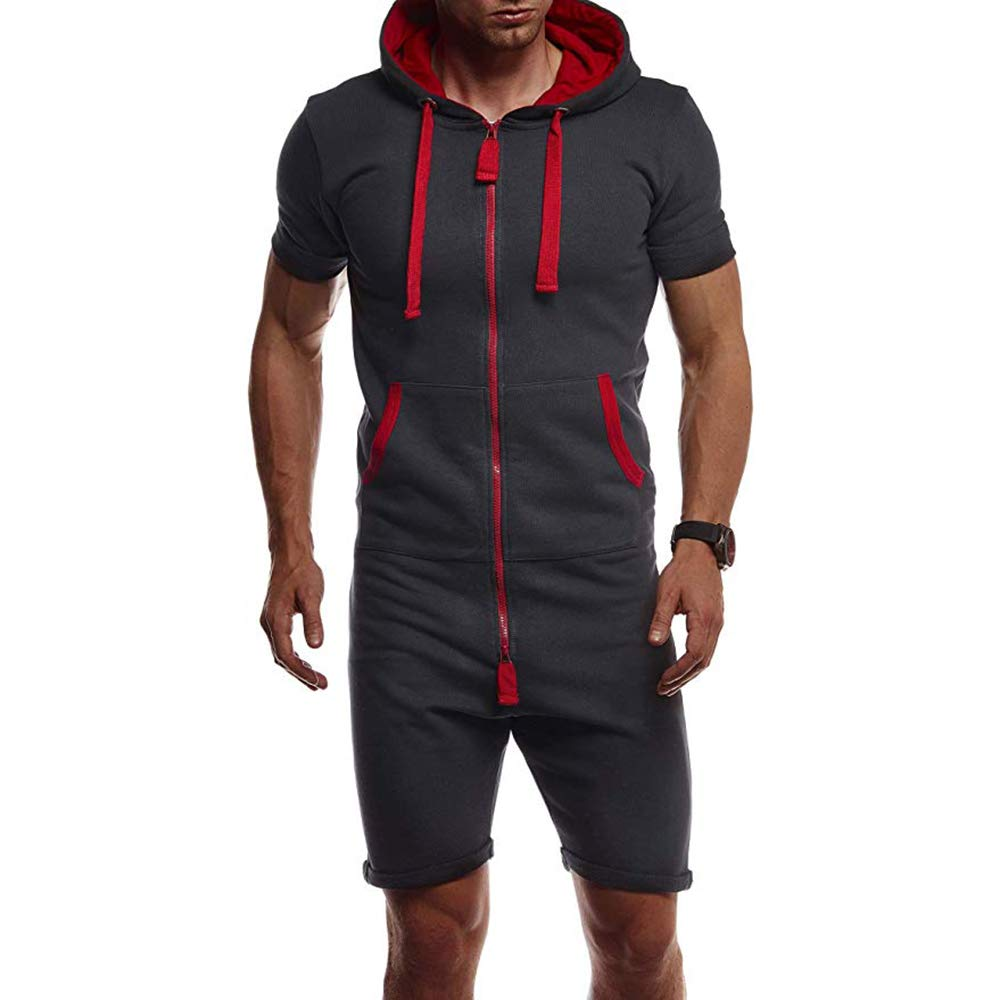 Combinaison de Sport Jogging Homme Combinaison de Survêtement Grenouillère Shorts Pantalon Court Pyjama à Cpauche Onesie Jumpsuit Été