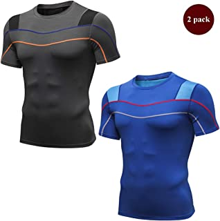 Men's Elasticity Moisture Wicking Reflective Short Sleeve Compression Workout T-Shirt Tight Tops,C,L