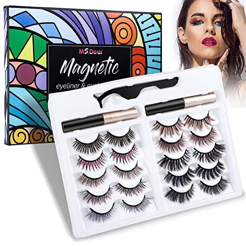 Bunt Magnetische Wimpern, MS.DEAR 10 Paar Künstliche Wimpern 3D Natürlich Falsche Wimpern Kit, Wasserdicht Falsche Eyelashes Wiederverwendbar, 2 Eyeliner Magnetische Set und Pinzette, Geschenkbox