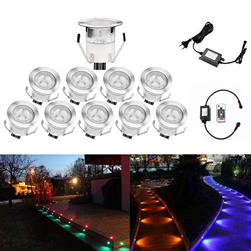 QACA 10er LED Einbauleuchten Bodeneinbaustrahler RGB Deckenspot Einbaustrahler Deckenleuchte Wasserdicht IP67 Einbaulampe 0,1W~0,3W Ø30mm Außenleuchten für Küche Garten Treppen Balkon Terrasse