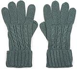 styleBREAKER Damen Handschuhe mit Zopfmuster und doppeltem Bund, warme Strickhandschuhe, Fingerhandschuhe 09010009, Farbe:Grau