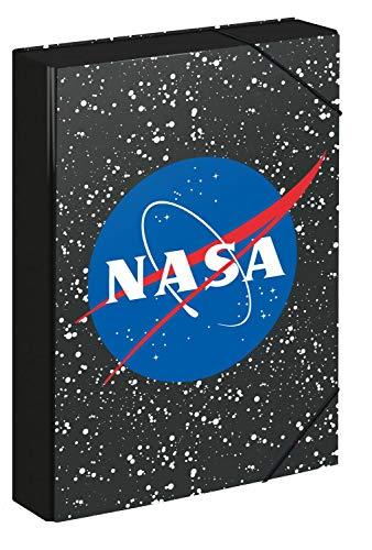 Baagl Heftbox für Schulranzen - Heftmappe A4 für Kinder mit Gummiband und Innenklappen - Sammelmappe, Sammelbox mit Gummizug für Jungen (NASA)