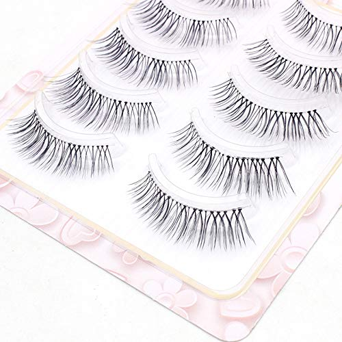 5 Pairs Natural False Eyelashes Transparent Slender Realistic Eyelash Cross soft Short Fake Eyelashes Handmade Makeup Tool