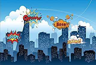 Yeele 10x8ft Little Superhero Backdrop Comic Superhero Cityscape Background for Photography Boy Girl Kid Birthday Baby Shower Party Banner Photo Booth YouTube Video Shoot Vinyl Studio Props