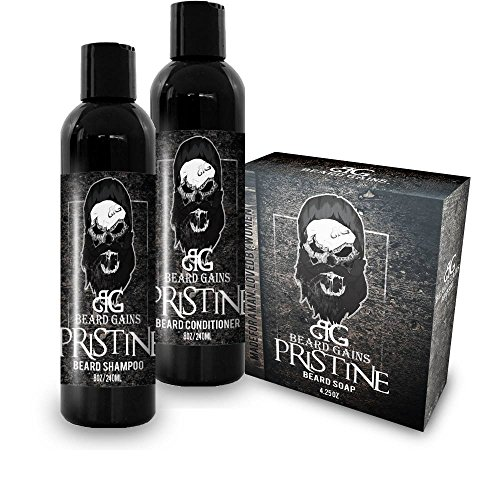 BEARD GAINS Pristine Scented Beard Wash Bundle Kit W/Shampoo, Conditioner and Soap Bar | Eliminate Itch & Dandruff & Soften Facial Hairs | Made in USA