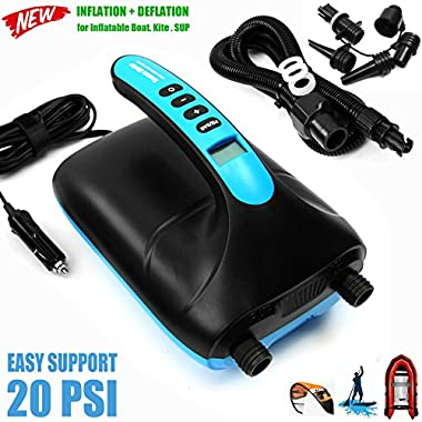 Seamax SUP 20PSI Intelligent Double Stage Electric Air Pump for Inflatable Boat and Stand Up Paddle Board, Fully Support Inflation and Deflation