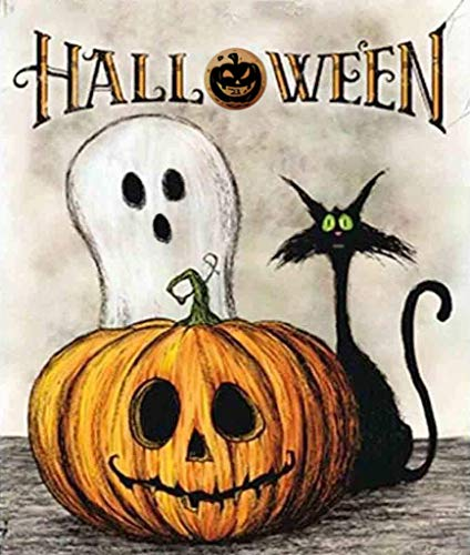 BLOCE Halloween Diamond Painting Kit for Adults, 12X16in DIY Painting by Number Kits, Cat Pumpkin Skeleton Full Drill Crystal Rhinestone Embroidery Pictures Arts Craft (Halloween-cat)