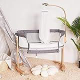 Baby Bassinet, Wooden Bedside Sleeper for Baby, Adjustable Bedside Crib, Portable Bed for Infant/Baby/Baby Girl/Newborn, Wooden Baby Bed to Bed, with Detachable Mattress, Straps, Breathable Mesh