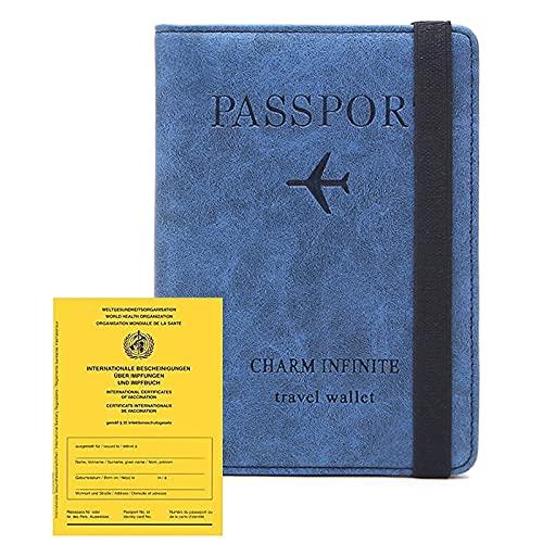 Impfpass Hülle Reisepasshülle (2021), Kunstleder Passhülle mit RFID-Blocker, Schutzhülle Tasche für Kreditkarten Damen Herren Reisepass Geschenk Passinhaberdeckel Karteninhaber(Blau)