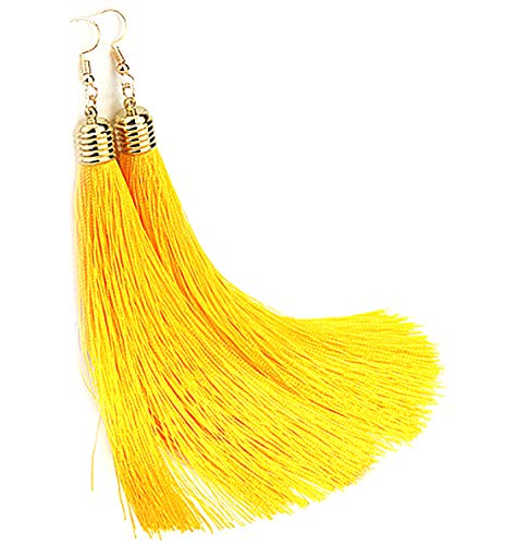 Aashya Mayro Long Soft Silk Thread Gold Hook Head Tassel Earring For Women And Girls Price in India