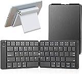 YIU Teclado Bluetooth plegable en tamaño de bolsillo portátil compatible con iOS Android Windows Smartphone Tablet, soporte ajustable para tableta y teléfono móvil, teclado con soporte negro