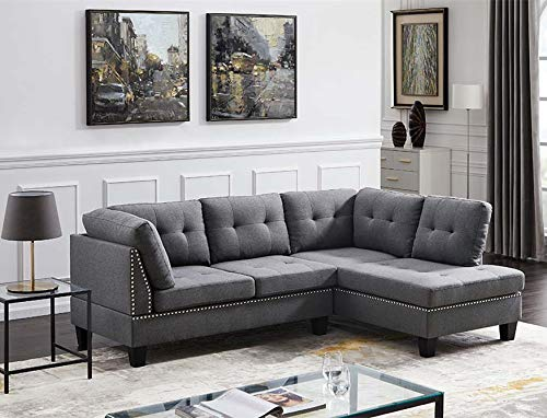 Soft Sectional Sofa L-Shape Sofa Couch with Button-Tufted Rivet Design 4-seat Sofas for Living Room Bedroom Home (Dark Grey)