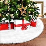 Fur Tree Skirt, Ohuhu Xmas Tree Skirt, 35.4' Large White Luxury Faux Fur Tree Skirt, Plush Christmas Tree Skirt Handmade Mat for Xmas Party Holiday Decorations