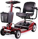 Silla de ruedas eléctrica / Ligero y compacto, plegable, 4 de alimentación de la rueda de traslación eléctrico y Scooter, 40 cm de ancho de los asientos, que puede abrirse en la barandilla, freno elec