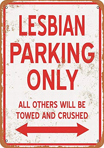 LoMall 12 x 16 Metal Sign - Lesbian Parking ONLY - Vintage Wall Decor Art