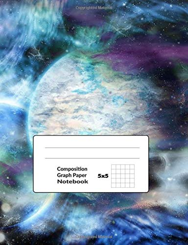 Composition Graph Paper Notebook 5x5: Galaxy Journal Quad Ruled Paper Workbook For Work and Notes 100 Pages, Size 7.44x9.69 in | Abstract Space Print