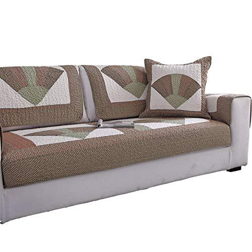 YUTJK Cubierta de sofá de algodón Lavable clásico,Europeo Fundas de Sofá,Dos Plazas Antideslizante Funda para Sofá,Cubre Sofá para Chaise Long Rinconera,marrón_70×70cm