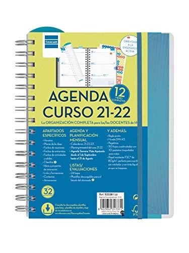 Finocam Agenda 2021 2022 Semana vista apaisada Septiembre 2021, Agosto 2022 12 meses 4º, 155x212 Docente Magistral Personalizable Azul Español