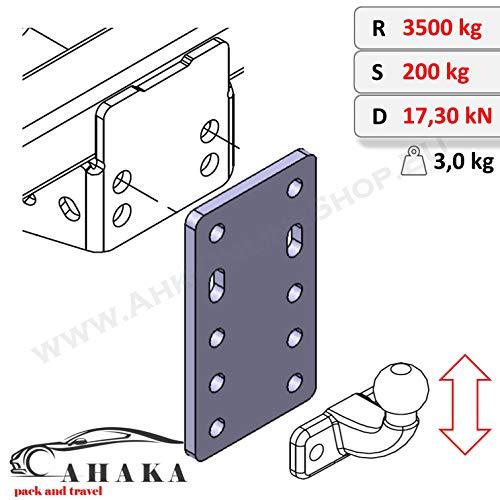 Adapterblech Universelle Adapterplatte zur Höhenverstellung 5x90 der Anhängerkupplung für 2-Loch Flanschkugeln (höhenverstellbare AHK)