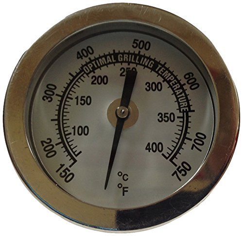 """Winters BBQ1 Premium BBQ Grill Thermometer, Stainless Steel Construction, Glass Lens, Back Connect, 5/16-18"""" Thread, Silver"""